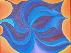 Maskenbild in Blau und Lila